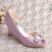 Wedopus MW371ลาเวนเดอร์ซาตินสุภาพสตรีเปิดนิ้วเท้ารองเท้าแต่งงานลิ่มส้นDropship