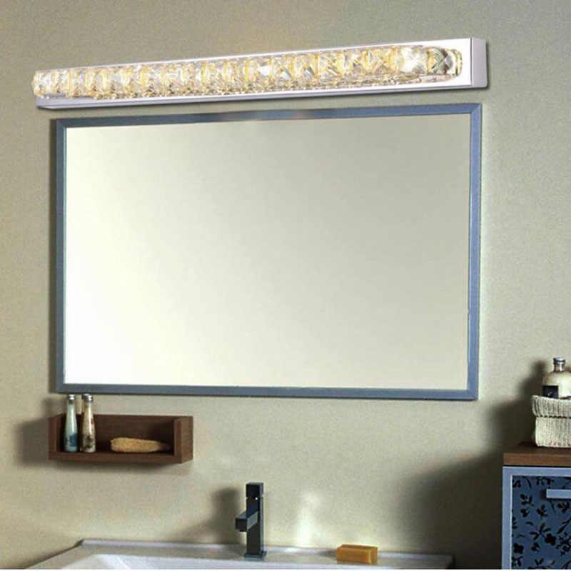 16W 550 Mm LED Cermin Cahaya K9 Kristal Kamar Mandi Lensa Lampu Stainless Steel Kamar Mandi Cermin Lampu AC 85V ~ 265V