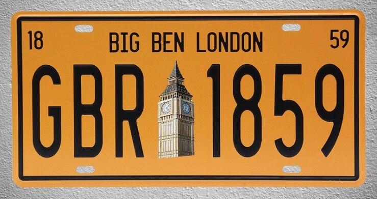 1 Stück Big Ben London Großbritannien Uk Auto Lizenz Zinn Platten Zeichen Garage Wand Manneshöhle Dekoration Metall Kunst Vintage Poster Neueste Technik