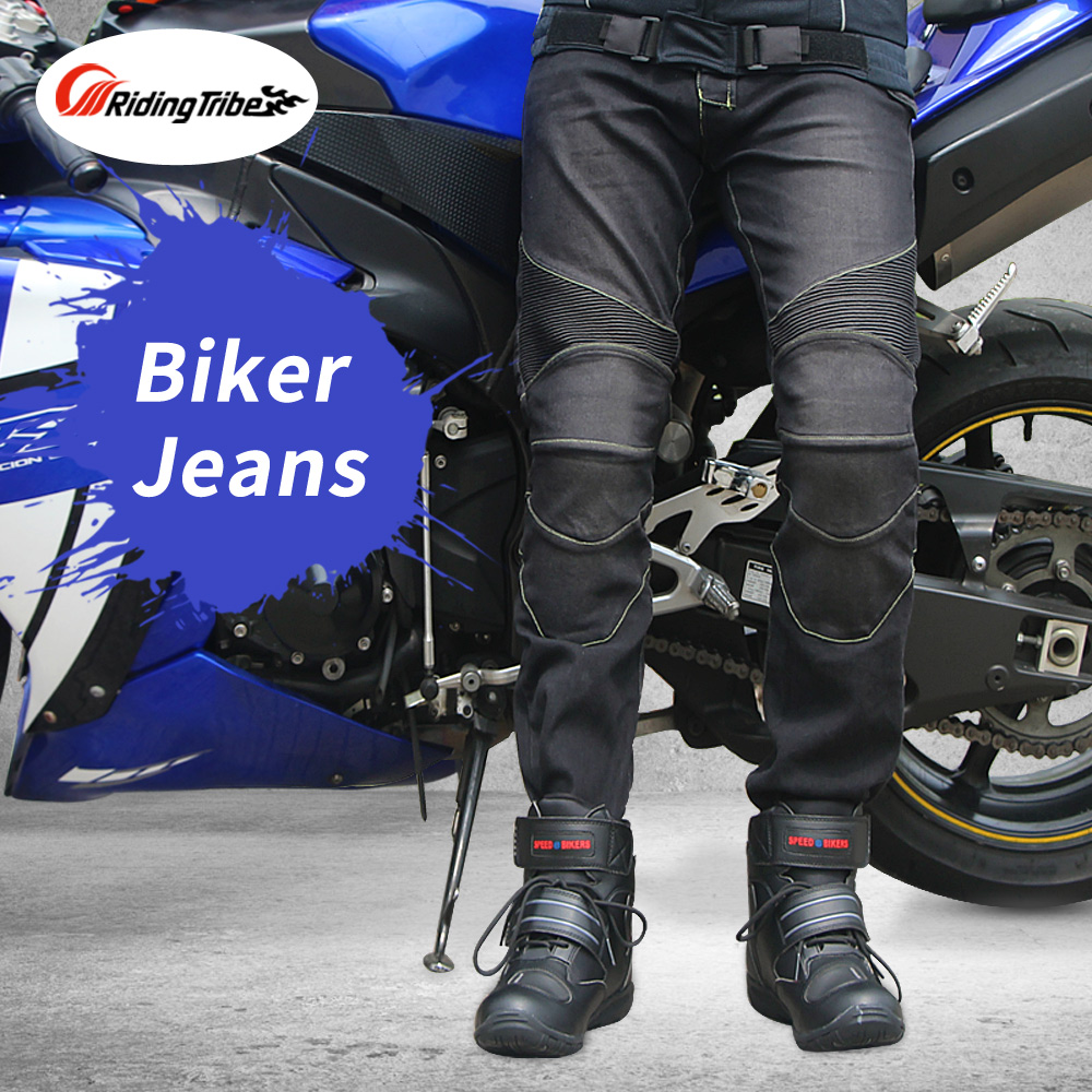 Riding Tribe Motorcycle Men's Biker Jeans Protective Gear Motocross Motorbike Racing Breathable Pants Straight Trousers HP-11 straight leg destroyed biker jeans
