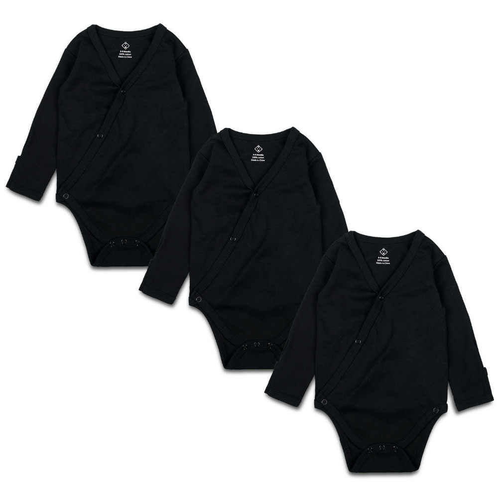 9dc907a30 Detail Feedback Questions about 3PCS Newborn Baby Bodysuit Black V neck  Unisex Infant Clothes Cotton Solid Long Sleeve Baby Boy Girl Jumpsuit with  Mitten ...