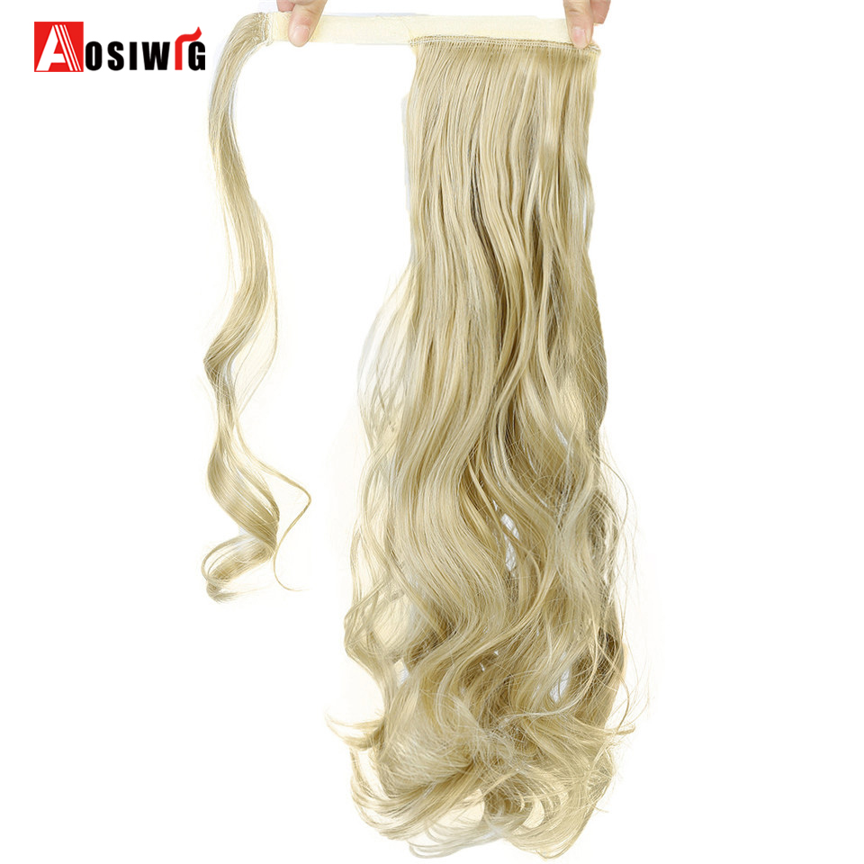 20 100g Long Curly Synthetic High Temperature Fiber Wrap Around Hairpieces Fake Hair Ponytail Extensions AOSIWIG