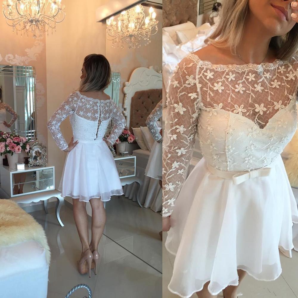 White Short Cocktail Dresses Sheer Neck Long Sleeve Lace Appliques Party Homecoming Dresses A Line Mini Dress Vestidos De Festa