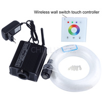 16W RGBW LED Fiber optic light Star Kit 450pcs 0.75mm 3M 2.4G wireless wall switch touch controller Lights with crystal fittings