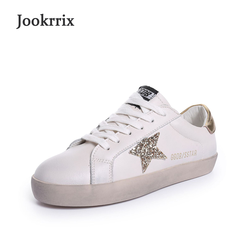 Jookrrix 2018 New Spring Fashion Brand Girl White Shoes Women Leisure Sneaker Genuine Leather Lady Casual Shoes Bling Star Soft