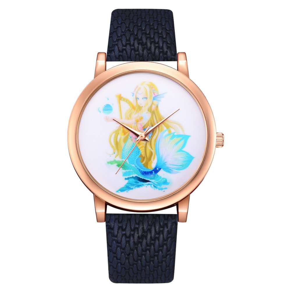 New Rattan Grain Belt Watch Little Mermaid Pattern Watch Trend Simple Fashion Leisure Sports Women's Watch