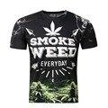 2016 homens Novos do verão tops tees engraçado impressão a erva daninha do fumo 3d t-shirt da marca fino t camisa do homem t vestido cheio impressão