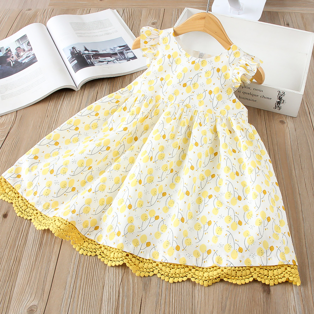 Hurave Casual patchwork lace Kids Clothes print princess Girl clothes New arrived Summer sleeveless dress cotton dresses ...