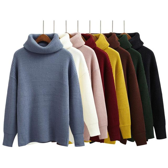 5516f63fb0 Korean Simple Basic Winter Knitted Sweaters Women Fashion Turtleneck Pullover  Sweater Female Casual All-match Jumper 8 Colors
