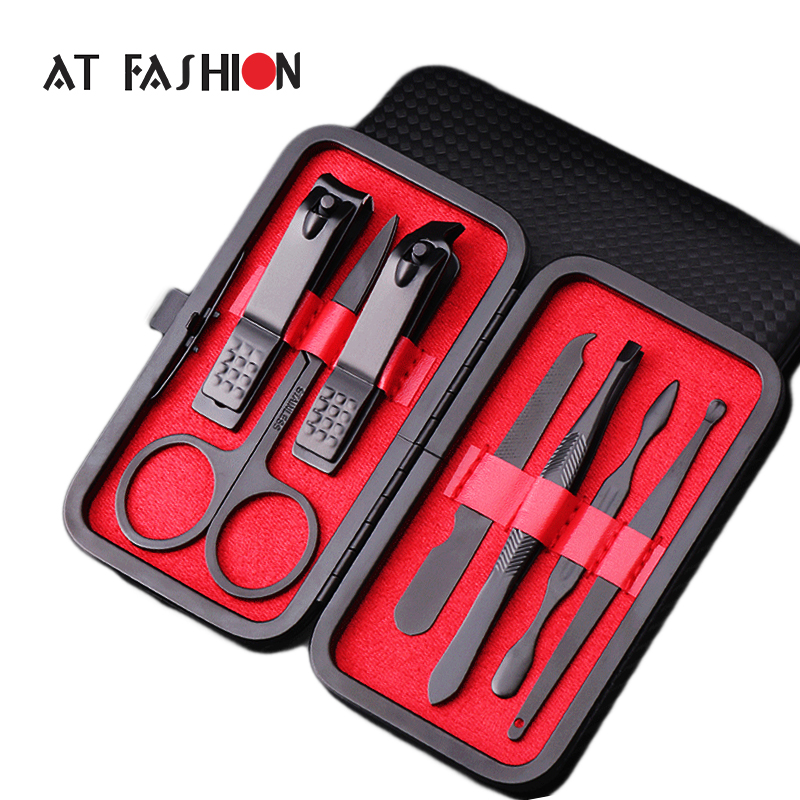 0b90a04af 7 Pcs Black Stainless Steel Nail Clipper Cutter Trimmer Tweezer Nail Tools  Set