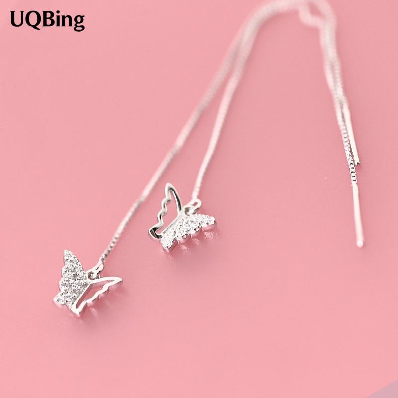 Fashion Pure 925 Silver Drop Earrings Butterfly Long Earrings Jewelry Pendientes Brincos Fashion Jewelry