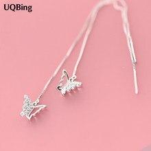 Moda czysta 925 srebro spadek kolczyki motyl długie kolczyki biżuteria Pendientes Brincos biżuteria