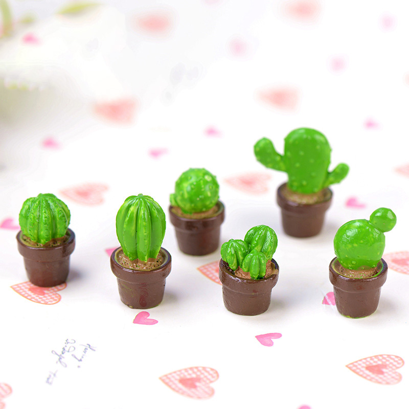 6pcs Artificial 3D Cactus Miniature figurine Potted Plant fairy garden Resin Craft home decoration DIY accessories in Figurines Miniatures from Home Garden