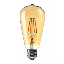 1 PC E27 4W Edison Retro Vintage Filament ST64 COB LED Bulb Light Lamp Body Color:Golden Cover Light Color:Gold Yellow (22