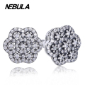 925 Sterling Silver Floral Daisy Lace stud earrings with cubic zirconia Snowflake Compatible with Brand Earrings Jewelry