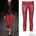 Бесплатная доставка весна и осень мода кожа женский молния брюки мотоштаны красные кожаные штаны XS-XL