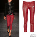 Free Shipping Spring And Autumn Fashion Leather Female Zipper Trousers Motorcycle Red Leather Pants XS-XL