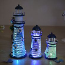 New Mediterranean Candle Holders Lighthouse Beacon Tower Beach Starfish Shell Candlestick Home Decor Crafts Ornament Night Light