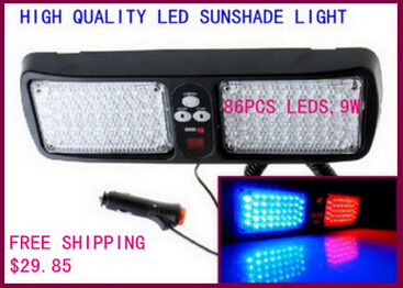 Higher star DC12V,9W Led car sunshade warning light,strobe emergency lights,flashing lamp,waterproof