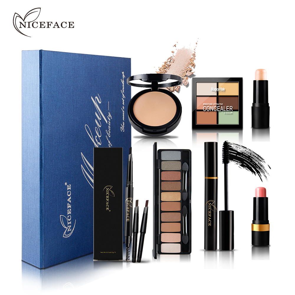 NICEFACE Makeup Set Eyebrow Pencil Brushes Concealer Powder Contour Eye Shadow Palette Eyelashes Mascara Blush Highlighter Stick learnever makeup set eye shadow eyeliner liquid eyebrow pencil mascara powder cake foundation lipstick blush concealer maquiagem