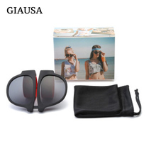 Giausa Sunglasses Women 2019 New Convenient Folding Mirror Outdoor Beach UV400 Luxury Brand