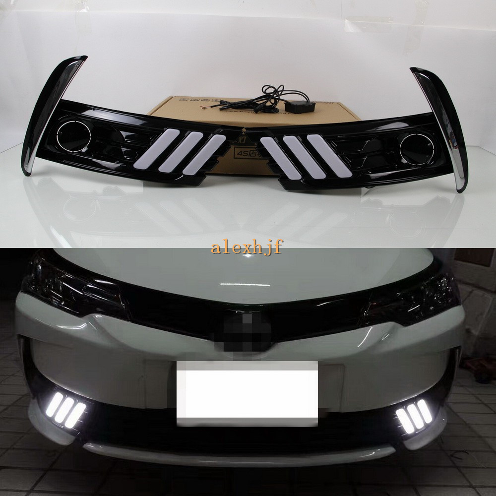 July King LED Light Guide Daytime Running Lights Case for Toyota Corolla EU Version 2017+, LED DRL With Fog Lamp Cover for toyota corolla fielder corolla axio 2007 corolla 2010 led drl fog lights lamp clear lens pair with wiring kit fog light set