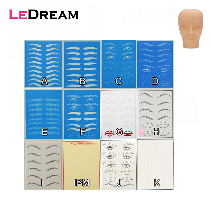 3D Silicone Pads Permanent Makeup Fake Tattoo Training Blank Eyes Lips Face Tattoo Fake Skin Head For Tattoo Practice Skin
