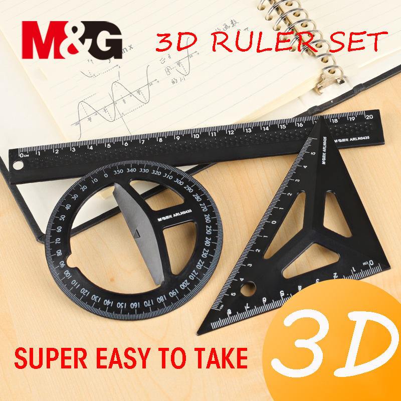 Andstal Three-dimensional Technical Drawing Ruler Set Plastic Black/White M&G Students Maths Geometry Triangle Ruler School