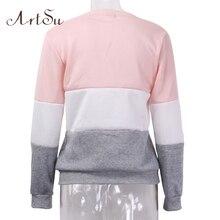 ArtSu 2017 Autumn and winter women fleeve hoodies printed letters tracksuit women's casual sweatshirt hoody sudaderas EPHO80027