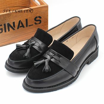 Women Genuine leather flat oxford shoes designer vintage handmade flower oxfords for women 2020 black brown summer