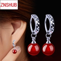 New Fashion Earrings For Women Natural Black And Red crystal Earrings Ear Jewelry Korean Style Party Silver Plated Accessories