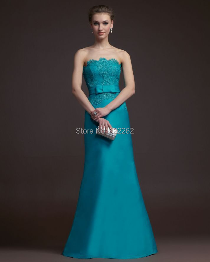 Most Popular Bridesmaid Dress: Formal Design A Line Strapless Hunter Green Taffeta Lace
