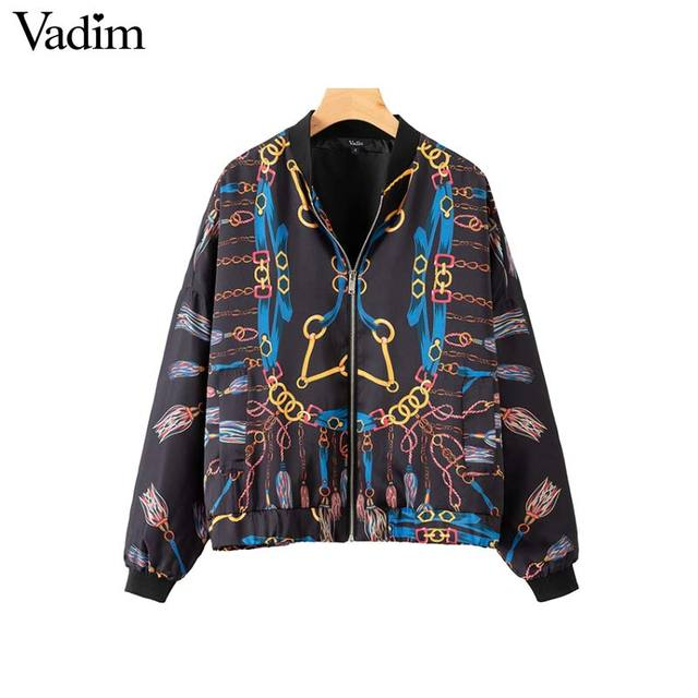 Vadim élégant chaînes imprimer lâche blouson surdimensionné poches manches longues manteaux dames survêtement occasionnel chic tops CA179