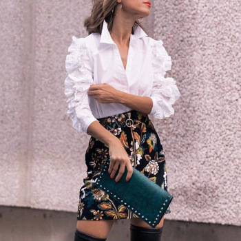 Long Sleeves Ruffles Blouse Retro 80s Style