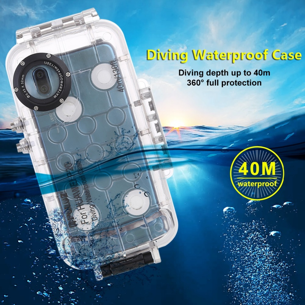 PULUZ 40m 130ft Waterproof Case Cover Diving Housing Photo Video Taking Underwater Cover Case for Huawei