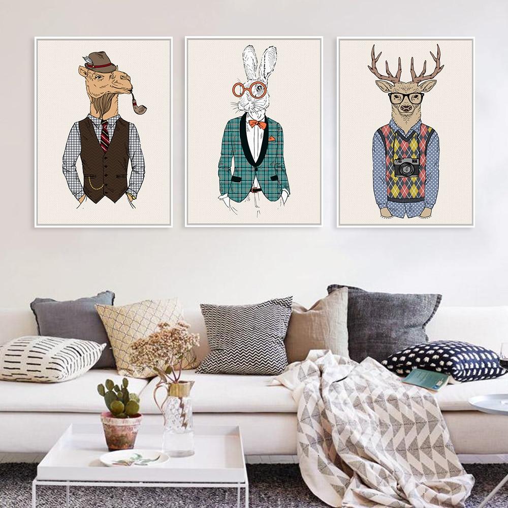 Fashion Animals Giraffe Zebra Horse A4 Vintage Art Prints