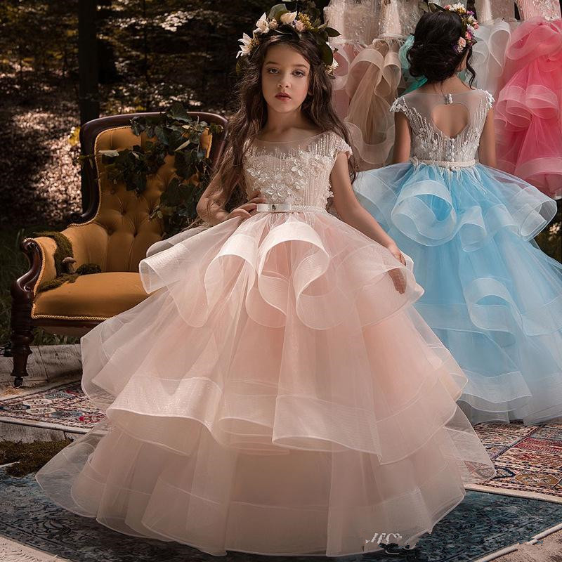 Elegant Cap Sleeves Organza   Flower     Girl     Dresses   Layered Ruffles Lace Beaded Floor Length Gilrs 'Pageant Birthday Party
