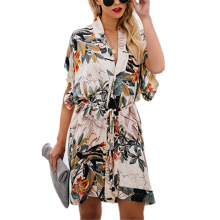 Women Floral Print Wrap Belt Shirt Dress Kimono Short Sleeve V-neck Summer Mini Dress -OPK flower print flutter sleeve wrap dress