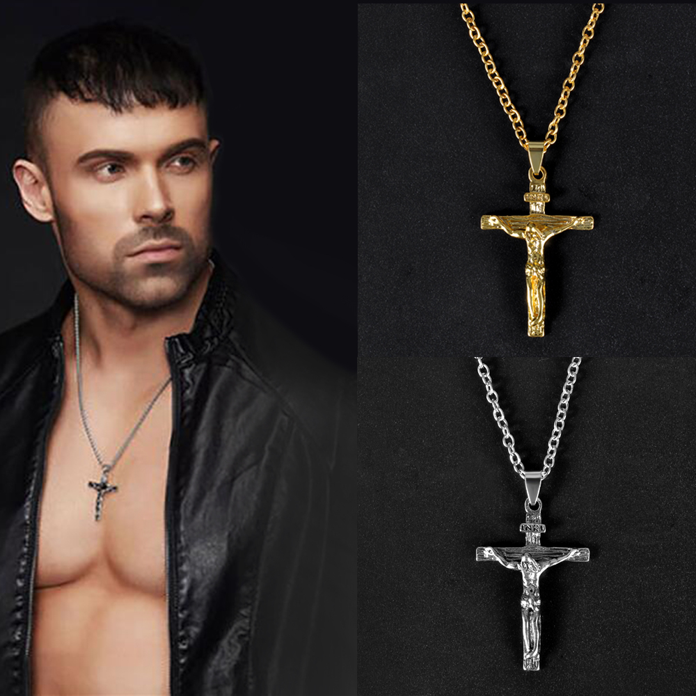 Gold Silver Christian Stainless Steel Pendant Necklace For Men Fashion Jewelry Crucifix Jesus Cross Pendant Chain Necklaces