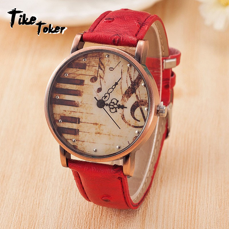TIke Toker,Fashion Women's Watch Vintage Leather Strap Piano Keys Men Watch Casual Dress Colok Relojes Mujer Relogio Masculino