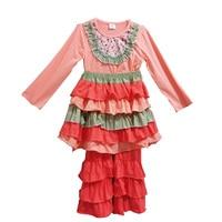 Fashion Girls Boutique Fall Winter Clothing Ruffle Orange Flower Bib Top Cotton Ruffle Pants With Ruffle Skirt Kids Outfit F007