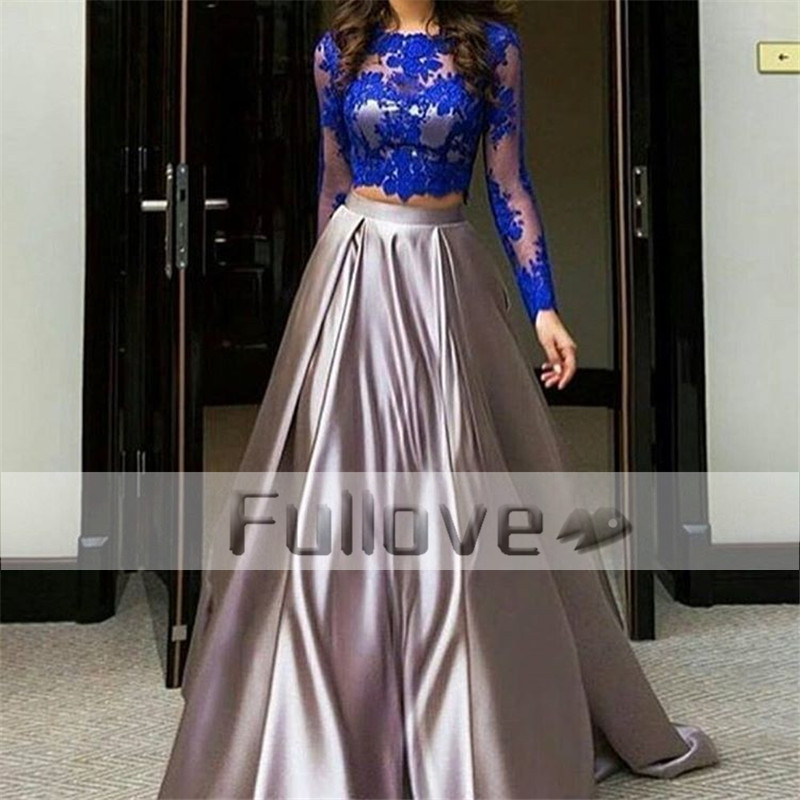 Fashionable Royal Blue Appliques 2 Pieces   Prom     Dress   2019 Long Sleeve See Through Silver Satin Formal Party Gowns Vestidos Festa