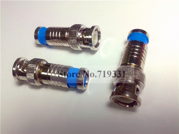 Lote 20 pces conector de compressão bnc rg59 cctv cabo coaxial adaptador macho