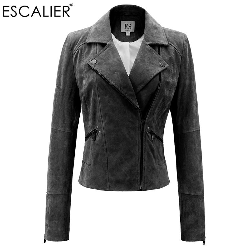 Escalier Genuine Leather Jacket Women Real Pigskin Slim Zipper Soft Suede real Leather Short Motorcycle Jacket