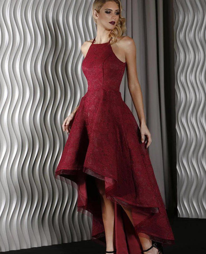 2017 Wine Red Halter High low Prom Dresses with Jewel ...Red High Low Prom Dresses 2013