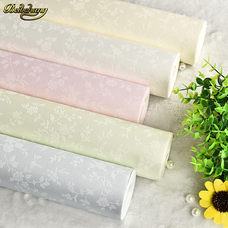 beibehang Wall Paper Waterproof PVC Embossed 3D Wallpaper roll Rustic Flower for Bedroom wallpaper for Living Room Home Decor beibehang non woven pink love printed wallpaper roll striped design wall paper for kid room girls minimalist home decoration