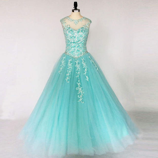 d8cf59486a Blue Turquoise Hot Pink Quinceanera Dresses 2018 Ball Gown Beaded Lace  Tulle Vestidos De 15 Long Prom Gown For Girl