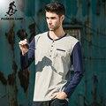 Пионерский Лагерь. Free shipping2016 новая мода мужская футболка о-образным вырезом с длинным рукавом случайные упругие мужские футболки хлопок футболки