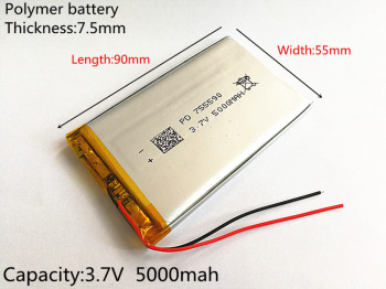 1pcs 3.7V 5000mAh Lithium Polymer LiPo Rechargeable Battery cells For Power bank PSP mobile phone PAD protable tablet PC 755590 mfi d8 1206 5000mah li polymer battery power bank w led indicator for iphone more white