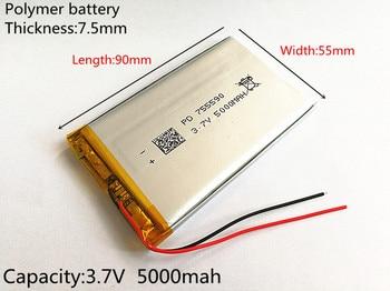 цена на 1pcs 3.7V 5000mAh Lithium Polymer LiPo Rechargeable Battery cells For Power bank PSP mobile phone PAD protable tablet PC 755590